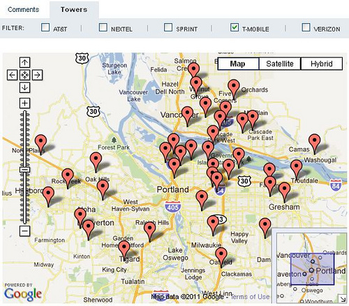 Cell Tower Map by dailywireless.org
